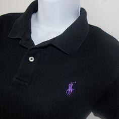 18ae1dca189 RALPH LAUREN SPORT Womens Polo Shirt Size X-Large Black w  Purple PONY   RalphLauren  PoloShirt  Casual