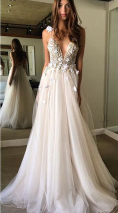 prom dresses,prom dress,Floral Prom Dress,Open Back Prom Dress,Deep V-neck Prom Dresses,Straps Prom Gown,Tulle Appliques Prom Dress,A-line Custom Made Evening Dress,beach wedding dress