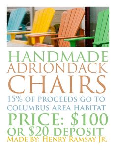 Adriondack Chairs for sale!