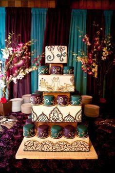 Indian Cake, Indian Wedding Cakes, Moroccan Wedding, Big Fat Indian Wedding, Unique Wedding Cakes, Unique Cakes, Wedding Cake Designs, Elegant Cakes, Indian Weddings