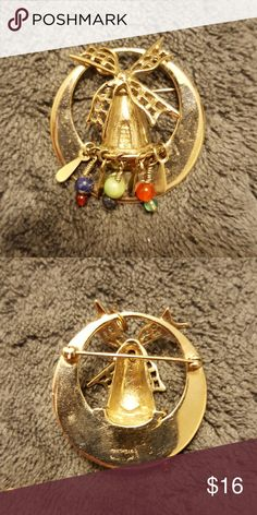 """Windmill pin/brooch Sterling silver pin/brooch with dangling stones and sterling pieces. 1.5"""" long and high. Jewelry Brooches"""