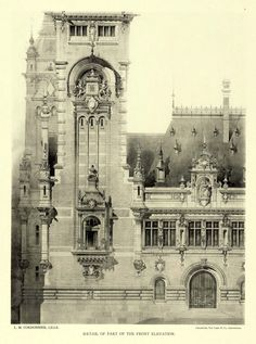 """archimaps: """"Detail of the front elevation of the projected Peace Palace, The Hague """" Revit Architecture, Vintage Architecture, Classic Architecture, Architecture Drawings, Historical Architecture, Architecture Details, Architectural Columns, Architectural Prints, Architectural Antiques"""