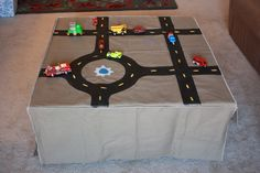 Reversible car/tractor table topper, with storage pockets from One Little Minute