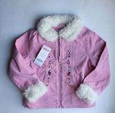 Girls Lined Pink Corduroy Jacket with Faux Fur at Collar and Cuffs by Gymboree, Size 4