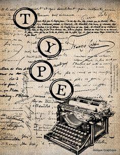 antique typewriter keys print