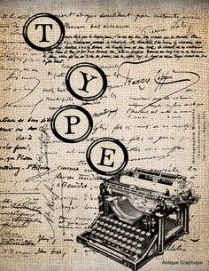 antique typewriter keys print