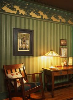 Craftsman Style Design | Forest Green Wallpaper | Bradbury & Bradbury