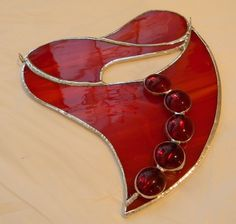 Red Stained glass heart.  SOLD
