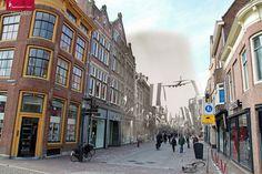 Lancaster bommenwerper boven de Langestraat. Alkmaar, mei 1945