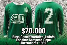 Camiseta M/L Verde Conmemorativa Andrés Escobar Campeón Copa Libertadores1989 Producto Oficial LDS Talla L Precio $ 70.000 Graphic Sweatshirt, Sweatshirts, Breakfast Nook, Luxury, Green, T Shirts, Trainers, Sweatshirt, Sweater