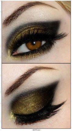 golden black smokey eyes