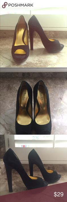 Charles David Suede peep toe heel Suede Charles David peep toe with black wood heel to match. Back of heel 6.0 inches. Worn once Charles David Shoes Heels