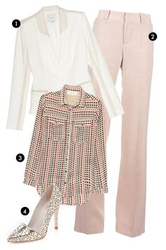 "1. IRO Crepe Blazer with Leather Detail, $795;  target=""new"">intermix.com 2. Chloé Wide-Leg Trousers, $557.61;  target=""new"">farfetch.com 3. Étoile Isabel Marant Moby Printed Silk Shirt, $360;  target=""new"">net-a-porter.com 4. Alice + Olivia Dina Laser Cut Mirrored Pumps, $325;  target=""new"">shopbop.com   - ELLE.com"