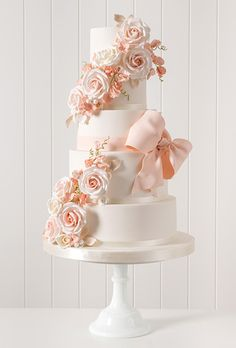 We create beautiful bespoke wedding, celebration cakes, cupcakes & chocolates supplied throughout Yorkshire including Ripon, Harrogate, York and Leeds. Bow Wedding Cakes, Beautiful Wedding Cakes, Wedding Cake Designs, Beautiful Cakes, Decors Pate A Sucre, Bolo Floral, Cake Trends, Cake Gallery, Wedding Cake Inspiration