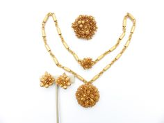 Necklace brooch and clip on earring set gold tone leaves and berrys AN73