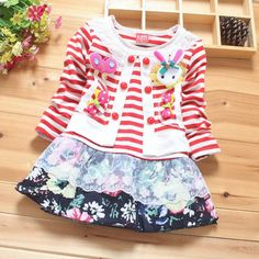 New Baby Girls Floral Striped Dress Long Sleeve Rabbit Butterfly Children Dress