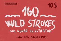 160 Wild Strokes for Illustrator by Guerillacraft on Creative Market