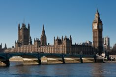 Houses of Parliament and Big Ben seen from the River Thames in London By Gavin Gough