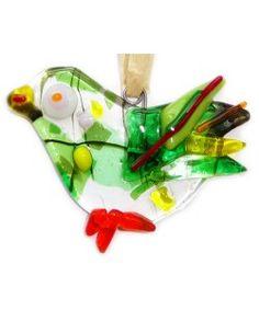 Handgemaakte heldere glazen vogel met groen,rood,gele accenten!