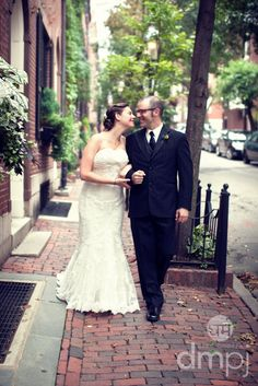 Julia & Scott: Mini wedding celebration -- ust strolling through Beacon Hill in a wedding dress (happens every weekend, I'm sure)