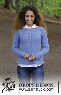 Blue Hour / DROPS - Knitted jumper with raglan and lace pattern, worked top down. Sizes S - XXXL. The piece is worked in DROPS Lima. Circular Knitting Patterns, Sweater Knitting Patterns, Free Knitting, Knitting Sweaters, Drops Design, Jumpers For Women, Sweaters For Women, Magazine Drops, Lace Sweater