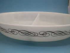 Vintage Pyrex Black Scroll Promotional 1.5 Qt Divided Oval Casserole -- SPECIAL OFFER AHEAD! : Bakeware
