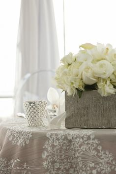 White Roses | Mercury Glass Votives | Modern Japanese Wedding Inspiration | World Trade Center Seattle Wedding | Seattle Wedding Planner | New Creations Wedding Design & Coordination | Alante Photography