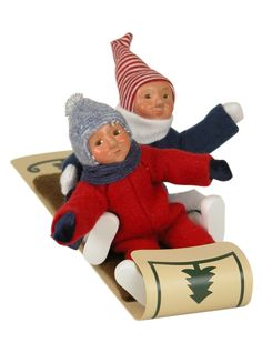 Byers' Choice Two Toddlers on Toboggan  Inv # 2945