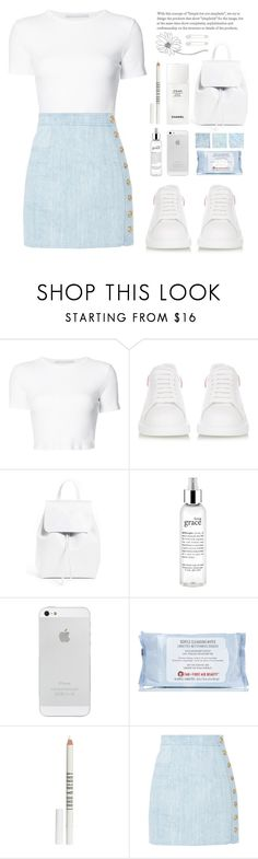 Listen to your heart by nadialesa on Polyvore featuring moda, Rosetta Getty, Balmain, Alexander McQueen, Mansur Gavriel, Kristin Cavallari, Lord & Berry, philosophy, First Aid Beauty and Chanel