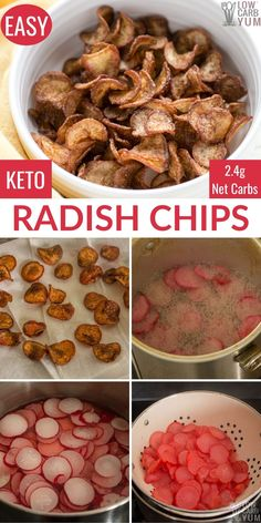 Keto Fried Radish Chips Recipe Radish chips are a keto and low-carb alternative to potato chips. They fry up crisp and golden like kettle chips. Healthy Low Carb Recipes, Low Carb Keto, Keto Recipes, Brownie Recipes, Radish Chips, Radish Recipes, Shrimp Recipes, Chicken Recipes, Carb Alternatives