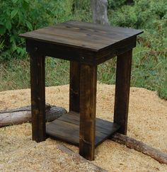 For the Porch/Deck?  but unfinished? Dark Walnut Side Table with Straight Legs/ Reclaimed Wood Table/ End Table