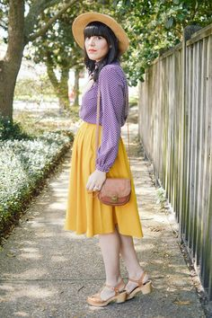 Yellow Love by Curious Natalia | Modcloth yellow mustard midi skirt and vintage clothing.