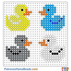 Patos de Goma plantilla hama bead. Descarga una amplia gama de patrones en formato PDF en www.patroneshamabeads.com