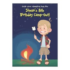 Camping Birthday Party Invitations Boy Camping Birthday Party Card