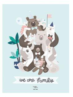www.papiers-urbains.fr craque pour les collabs inspirantes d'émoi émoi //affiche-famille-ours-we-are-family-michelle-carlslund-emoi-emoi_2_ //@Emoi Emoi