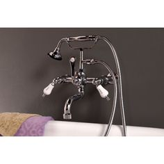 Strom Plumbing Deck Mount Clawfoot Tub Faucet with Handheld Shower