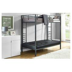 Jasper Premium Twin Over Futon Bunk Bed with Black Mattress - Dorel Home Products