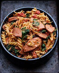 Fusilli, Kielbasa, Paella, Pasta Salad, Favorite Recipes, Ethnic Recipes, Blog, Crab Pasta Salad, Blogging