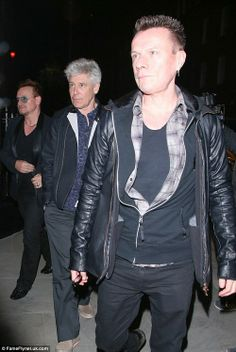 Adam Clayton, Larry Mullen Jr., Bono at the Chiltern Firehouse Restaurant - London 11 April 2014