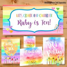 Paint Party Invitation, Art Party Decorations, Art Party Signs, Painting Party Banner, Paint Party Thank you card Art Party Invitations, Watercolor Invitations, Invite, Birthday Invitations, Art Party Decorations, Art Birthday, Birthday Parties, Summer Birthday, Happy Birthday