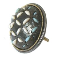 Untitled Ring by Sharon Massey ~ steel, fabric, silver, brass, gold ~ 2011
