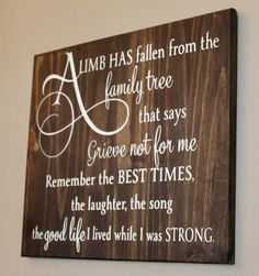 A Limb has fallen from the family tree plaque made of solid wood – Wally's Wood Crafts, LLC Family Tree Quotes, Family Sayings, Tree Of Life Quotes, Memorial Gifts, Memorial Ideas, Memorial Plaques, Funeral Memorial, Memorial Ornaments, Memory Crafts
