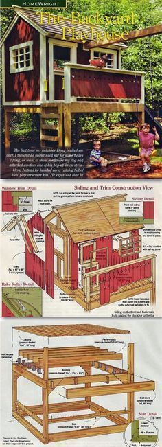 Backyard Playhouse Plans - Children's Outdoor Plans and Projects | WoodArchivist.com #outdoorplayhouseplans