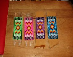 some soon to be beaded bracelets, I just have to attach to leather and do some edging. Loom Bracelet Patterns, Seed Bead Patterns, Beading Patterns, Stitch Patterns, Beaded Braclets, Bead Loom Bracelets, Native Beadwork, Native American Beadwork, Seed Bead Jewelry