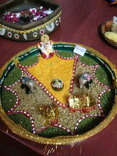 Aarti thali decoration ideas for janmashtami decoration for Aarti thali decoration with kundan