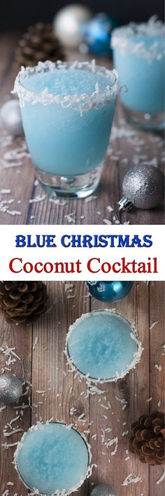 Blue Christmas Coconut Cocktail | Wishes and Dishes