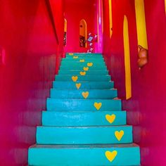 Decor Home Living Room, Home Decor, Pintura Exterior, Day Glow, Steps Design, Neon Rainbow, Stairway To Heaven, Pretty Cool, Stairways