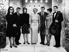 Eurovision Song Contest 1963: Nana Mouskouri (Luxembourg), Alain Barrière (France), Francoise Hardy (Monaco), Annie Palmen (The Netherlands), Jacques Raymond (Belgium), Grethe & Jorgen Ingmann (Denmark)