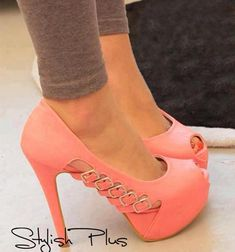 See more Light pink strapped high heel shoes for ladies