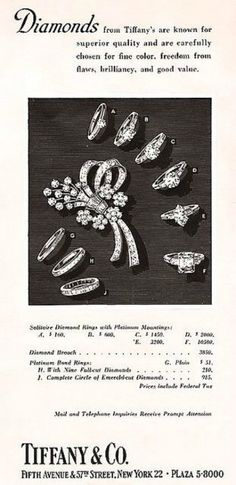 Tiffany & Co. Ad from April 12, 1952 New Yorker Magazine